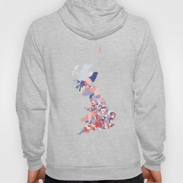 Patriotic Great Britain Map Print Abstract in Red White and Blue a great talking piece for the home! Hoody