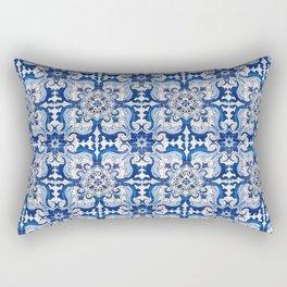 Blue Azulejo Tile Portuguese Mosaic Pattern Rectangular Pillow