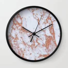 Intense rose gold marble Wall Clock