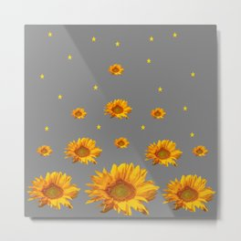 RAINING GOLDEN STARS YELLOW SUNFLOWERS GREY COLOR Metal Print