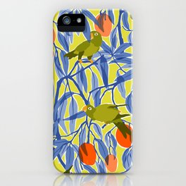 Green Parrots and Mangoes iPhone Case