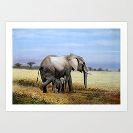 A Painting of an Elephant Mother and Child Art Print