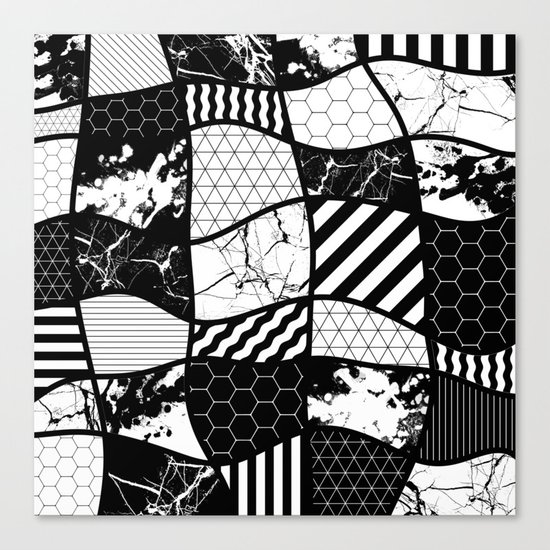 Crazy Patchwork (Abstract, black and white, geometric designs) Canvas Print