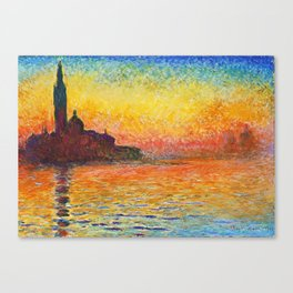 Claude Monet Sunset In Venice Canvas Print