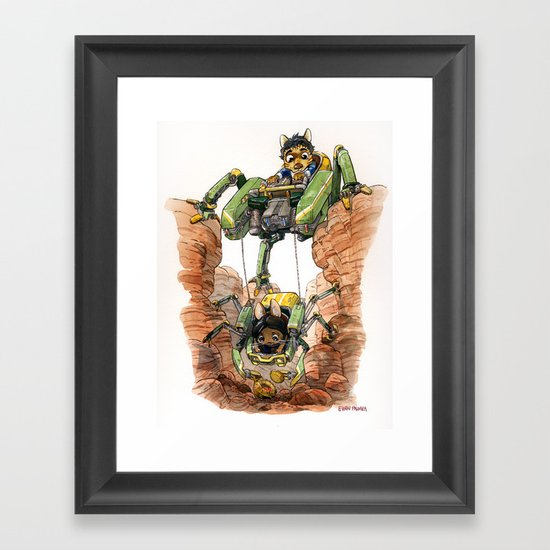 The Deep Dig Excavator Framed Art Print