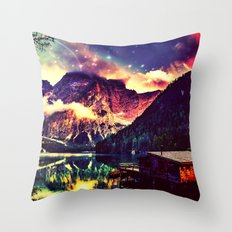 Night Sky at the lake Throw Pillow