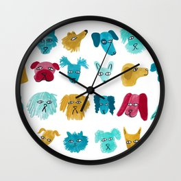 Dog Faces Wall Clock
