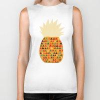 pineapple Biker Tanks featuring Pineapple by Picomodi