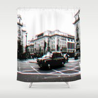taxi driver Shower Curtains featuring Taxi by My own little world