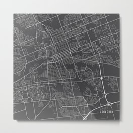 London Map, Canada - Gray Metal Print
