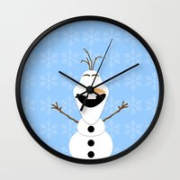 olaf Wall Clocks featuring Olaf by Aya Ghoneim