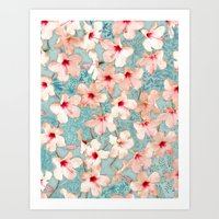 bedding Art Prints featuring Shabby Chic Hibiscus Patchwork Pattern in Peach & Mint by micklyn