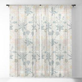 Vintage Floral & Plants Pattern Sheer Curtain