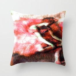 The Dancer by Edgar Degas Coral Red Throw Pillow