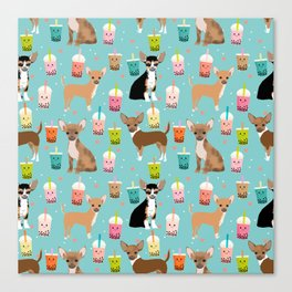 Chihuahua bubble tea kawaii boba tea cute dog breed pattern dog art chihuahuas Canvas Print