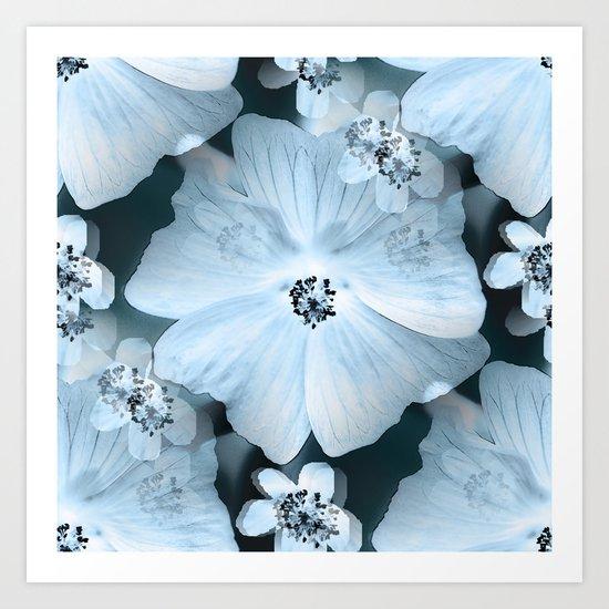 Flower-power - pastel blue flowers on a dark blue background Art Print