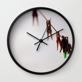 Clothespins on a rope 4496 Wall Clock