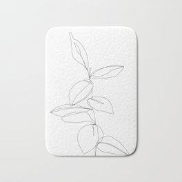 One line minimal plant leaves drawing - Berry Bath Mat