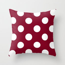 Large Polka Dots - White on Burgundy Red Throw Pillow