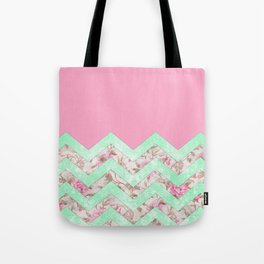 Girly Mint Green Pink Floral Block Chevron Pattern Tote Bag