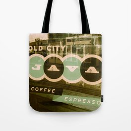 Old City Java Sign in Mint Tote Bag