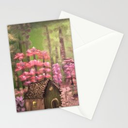 Enchanted cabin in the woods Stationery Cards