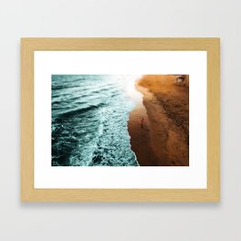 Red Hoodie Beach Framed Art Print