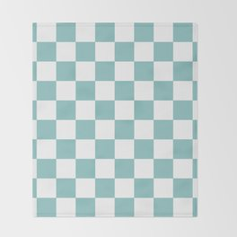 Chalky Blue Checkers Pattern Throw Blanket