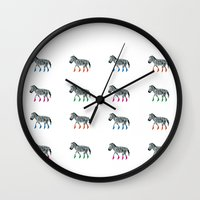socks Wall Clocks featuring ZEBRA SOCKS by Patricia de Cos
