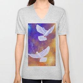 Doves in Twilight Unisex V-Neck