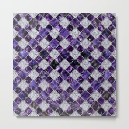 Oriental Pattern with Amethyst Clusters and silver Metal Print