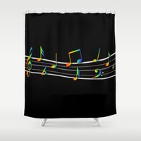 music notes Shower Curtains featuring Rainbow Music Notes on Black by GBC Design