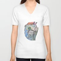 ducks V-neck T-shirts featuring Ducks by Inez Gulyas