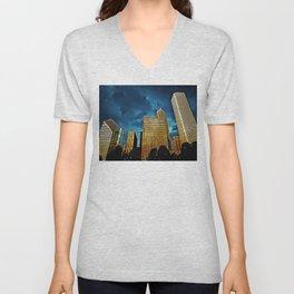 Glittering Chicago Skyline Unisex V-Neck