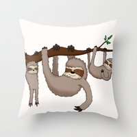 sloths Throw Pillows featuring Cute Illustrated Sloths  by Philly & Brit