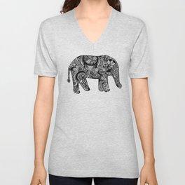 INTRICATE ELEPHANT BLACK AND WHITE Unisex V-Neck