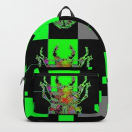 GREEN & BLACK CUBIC MODERN ART WITH REDDISH BEETLES Backpack