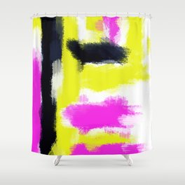 pink yellow and black painting abstract with white background Shower Curtain