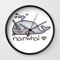 narwhal Wall Clocks featuring narwhal  by geeboo