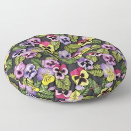 Purple, Red & Yellow Pansies With Green Leaves - Floral/Botanical Pattern Floor Pillow