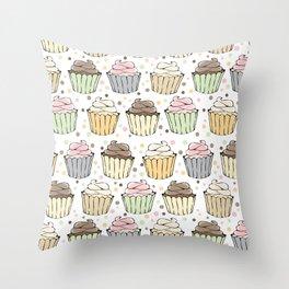 Cupcake Love Pattern -Food Pattern Throw Pillow