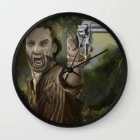 rick grimes Wall Clocks featuring Rick Grimes by Paulo Fodra