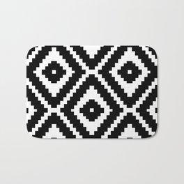 Monochrome Ikat Diamond Pattern Bath Mat