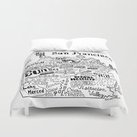 san francisco map Duvet Covers featuring San Francisco Map Illustration by Claire Lordon
