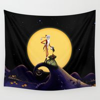 jack skellington Wall Tapestries featuring Christmas Nightmare Jack Skellington by Inara