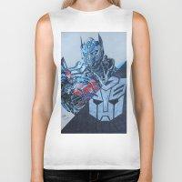 optimus prime Biker Tanks featuring Optimus Prime  by JH Art