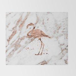 Rose gold marble - flamingo Throw Blanket