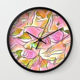 Flowing Soft Petal Abstract - Pink Wall Clock
