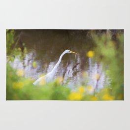 Great White Egret in the Marsh Rug