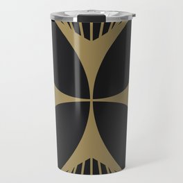 Diamond Series Floral Cross Gold on Charcoal Travel Mug